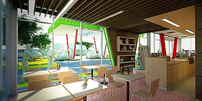 Interior cafenea statie carburanti